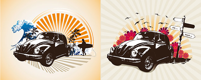 Retro classic cars theme illustrations