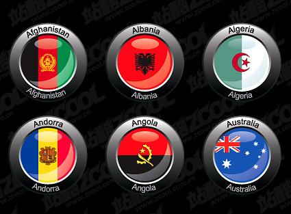 Crystal style circular foreign flag
