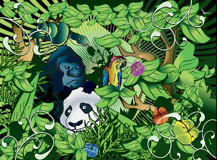 Dense forest animals