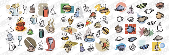 Hand-painted food and drink vector material