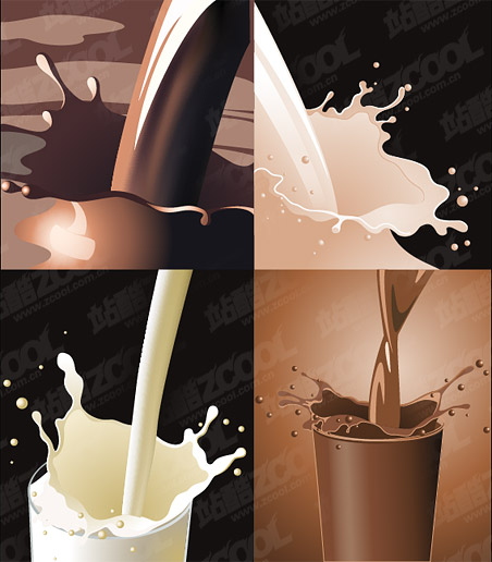Dynamic milk coffee vector material