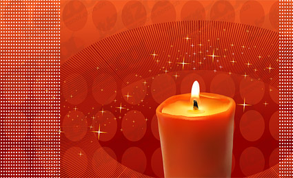 Red candles theme vector material