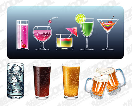 Vector material cool summer drinks