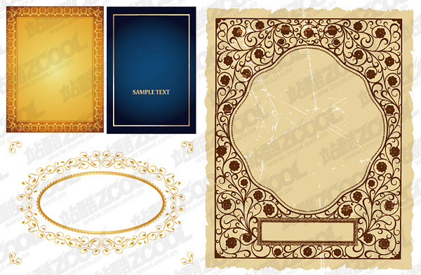 Practical lace border vector material-2
