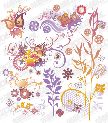 Lovely style pattern element vector material