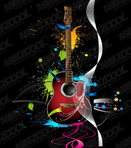 Guitar trend vector illustrations material