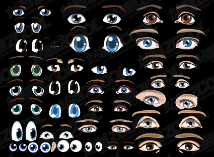 Accommodates a lovely cartoon eyes vector material