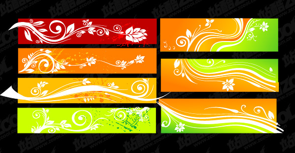 Beautiful color patterns banner vector material