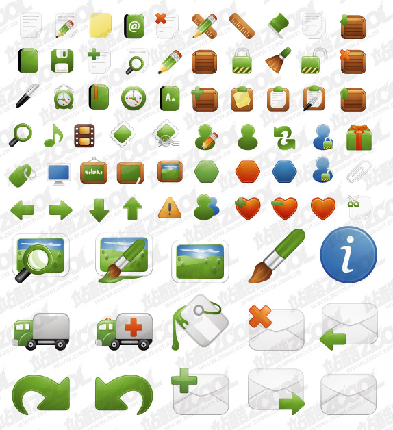 Milky series of exquisite green icon vector material