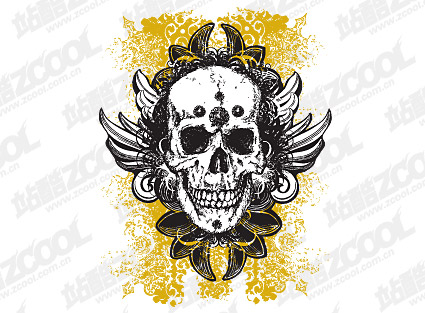Winged skull pattern vector material