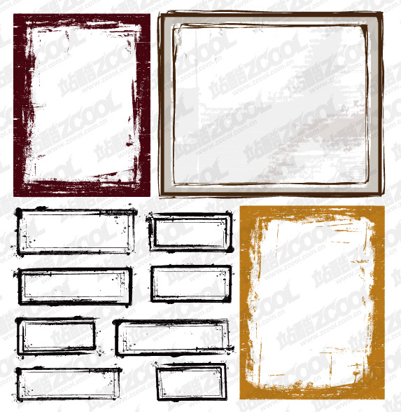 Ink style border vector material