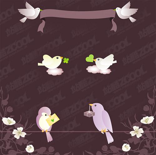 Vector material birdies Baoxin