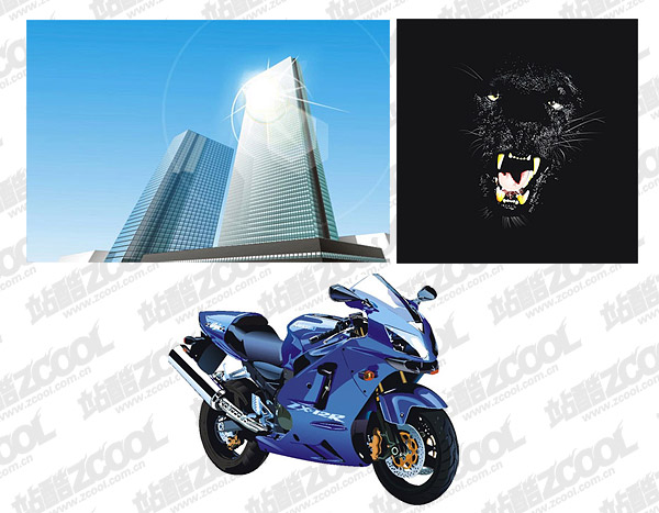 Tall buildings, Panthers and motorcycles vector material