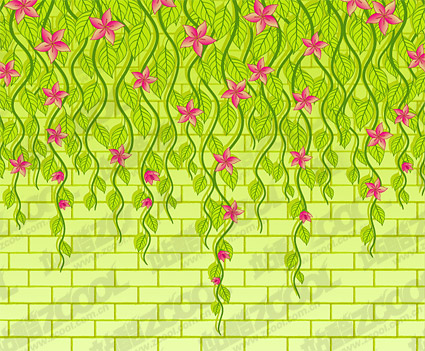 Vector flowers on the wall of the material