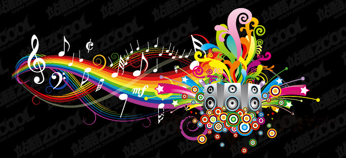 Fun theme music vector material