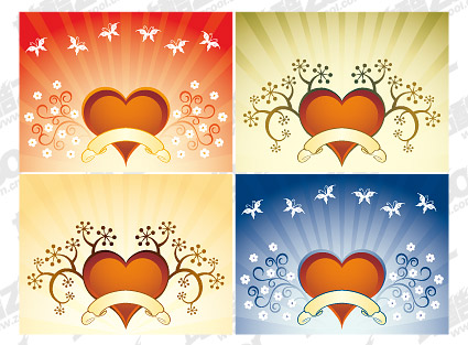 Fourth quarter of heart-shaped pattern vector material