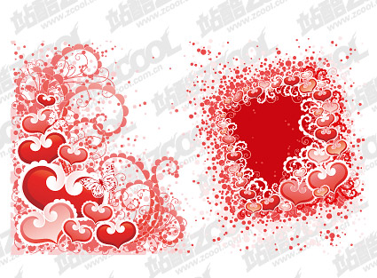 Heart-shaped, dot patterns and vector material