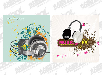 2, headphones theme vector material