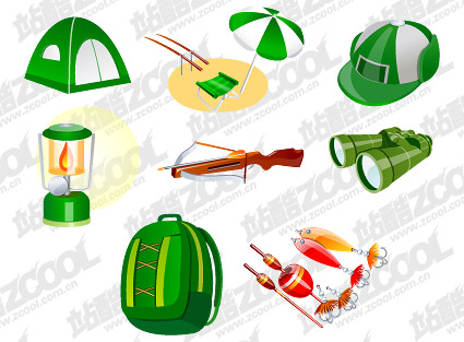 Travel camping supplies vector material