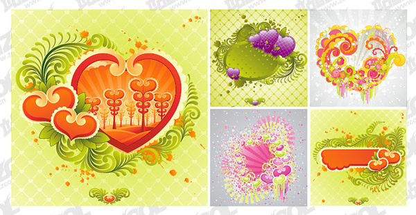 5, TrendUK heart-shaped elements vector material