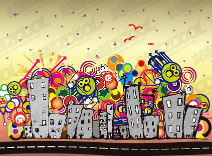 Lovely city vector illustrations material