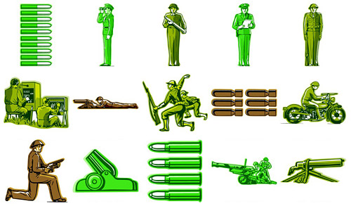 Foreign military personnel theme vector material