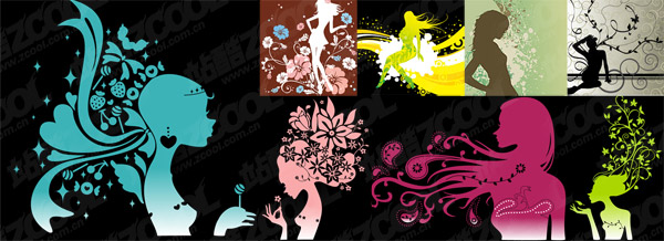 Fashion pattern female silhouettes vector material