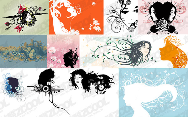 12, with the pattern portrait of female silhouettes vector material