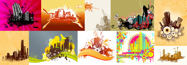 10 trend of urban construction material theme vector illustrations