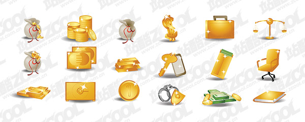 Money gold theme icon vector material