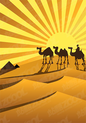 Gold desert on camel silhouettes vector material