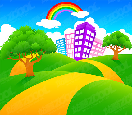 Vector cartoon landscape material