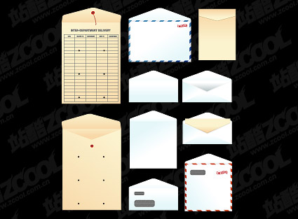Paper bags, envelopes, vector material