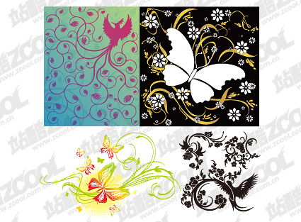 4, bird or butterfly pattern combination of vector material