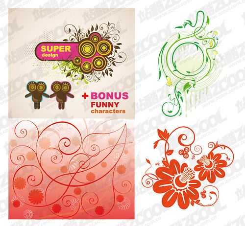 4, lovely style pattern vector material
