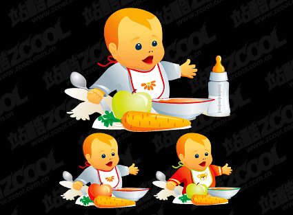 Dining babies vector material