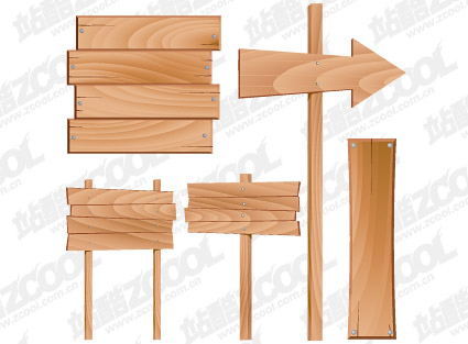 Wood signs vector material
