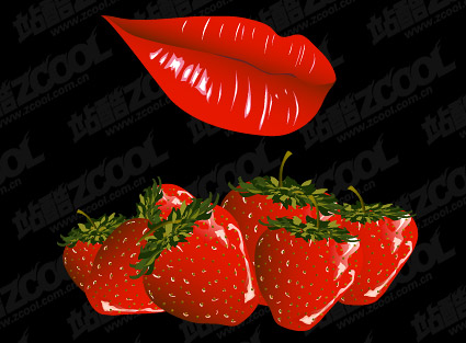 Lips and strawberry vector