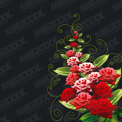 Rose decorative patterns vector material