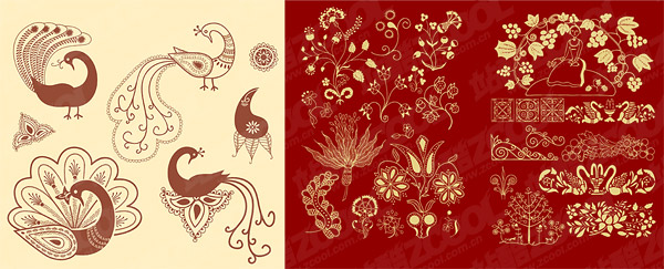 Classical patterns and peacock vector material