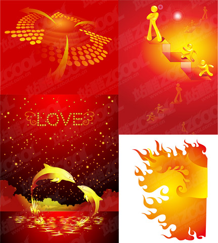 Vector golden color illustrations