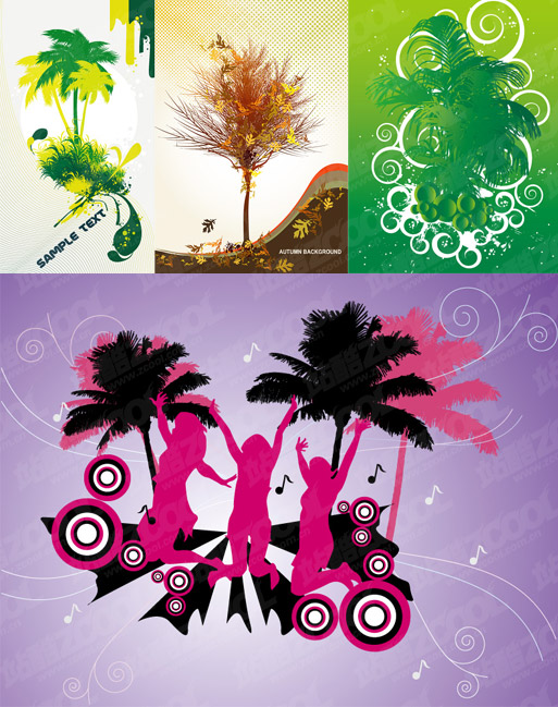 the theme of trees vector illustrations material