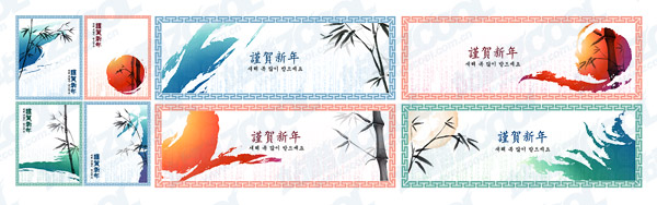 Classical Chinese ink painting style vector material-3