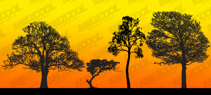 tree silhouettes vector material