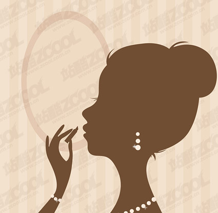 Lipstick painted silhouette of a woman vector material