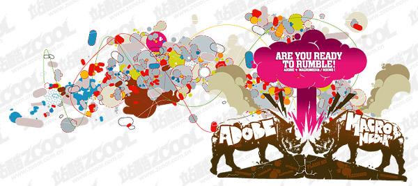 Rhino theme trend vector illustration