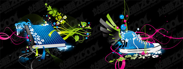 Books, shoes theme vector material