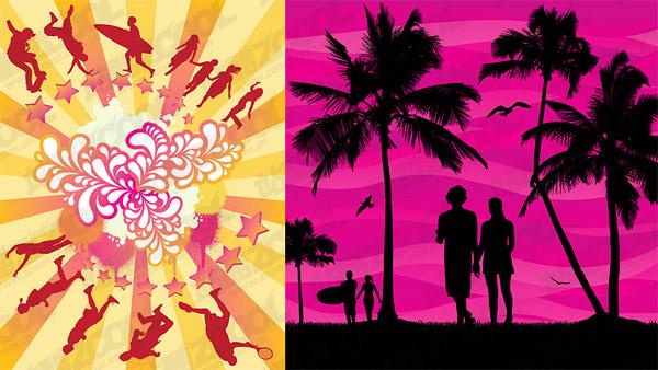 summer theme vector material