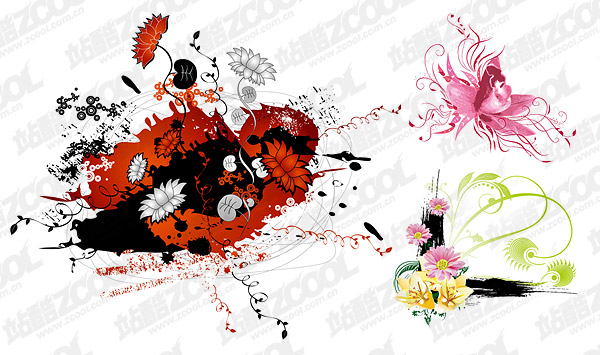 different flowers vector material