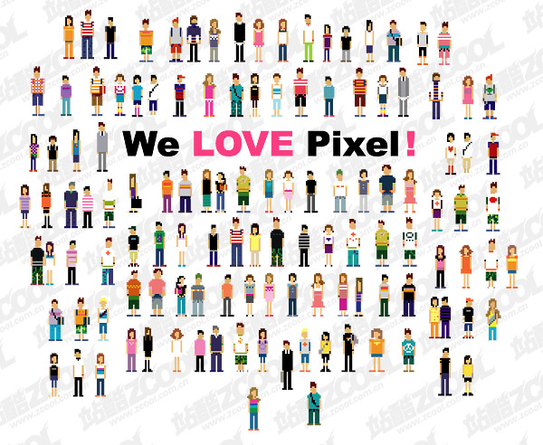 Pixels villain vector material